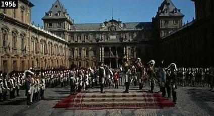 Parco del Valentino, il vero castello del Valentino riveste il ruolo del castello prussiano di Tilsitt nel film ''Guerra e pace''  (www.davinotti.com)