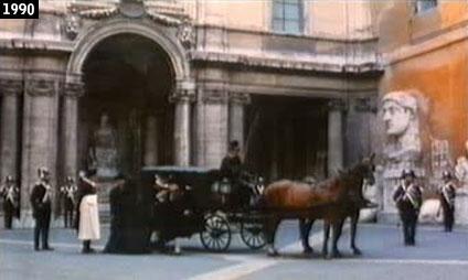 Il cortile del Palazzo dei Conservatori, sul Campidoglio, spacciato per residenza papale ne In nome del popolo sovrano (1990) (www.davinotti.com)