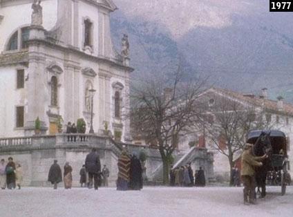 """Cison di Valmarino, la chiesa dei Santi Giovanni Battista e Maria Assunta in un fotogramma di """"Mogliamante"""" (www.davinotti.com)"""