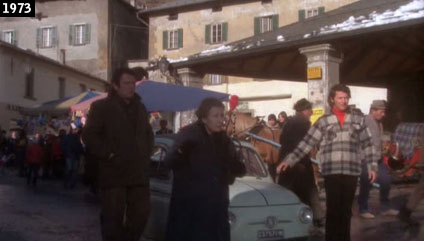 Scena del film Una breve vacanza girata nel 1973 presso il Kuérc di Bormio (www.davinotti.com)