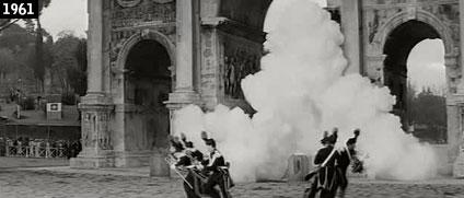 """L'Arco di Costantino crolla (per finta) in """"Che gioia vivere"""", film del 1961 del regista francese René Clément (www.davinotti.com)"""