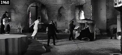 """Federico Fellini ricostruisce un locale notturno della """"Dolce vita"""" negli ambienti delle Terme di Caracalla, dove Marcello Mastroianni e Anita Ekberg ballano sulle note di Adriano Celentano (www.davinotti.com)"""