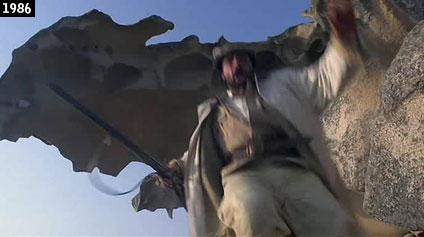 La roccia vista da vicino nel film della Wertmüller  ''Notte destate con profilo greco, occhi a mandorla e odore di basilico'' (www.davinotti.com)