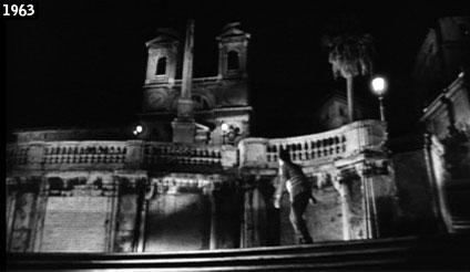 """La chiesa della Trinità dei Monti e la sua scalinata immortalate nel film """"La ragazza che sapeva troppo"""" di Mario Bava (www.davinotti.com)"""